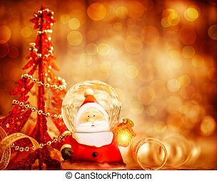 Cute Santa border - Red Christmas background with cute snow...