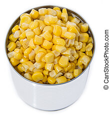 Isolated Canned Corn on white background