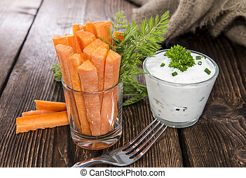 Carrot Sticks in a glass - Fresh made Carrot Sticks in a...