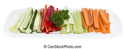 Isolated Crudites - Crudites Celery, Carrot, Cucumber and...