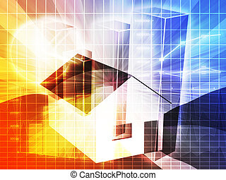 Housing market analysis - Financial charts with house, real...
