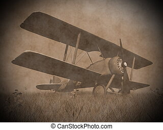 Biplane on the grass - 3D render - Vintage image of a...