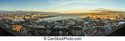 Geneva city and lake panorama, Switzerland - Panoramic view...