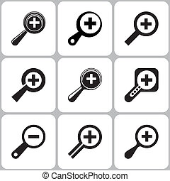 Magnifier Icons Set - Vector Magnifier Icons Set