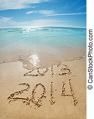 digits on the sand - digits 2013 and 2014 on the sand...
