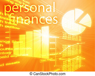 Personal finances illustration of Spreadsheet and business...
