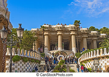 Guell Park in Barcelona, Spain - Barcelona, Spain - November...