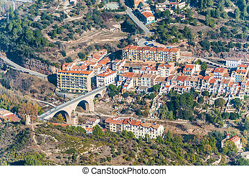 Picturesque aerial view at the village in Catalonia.