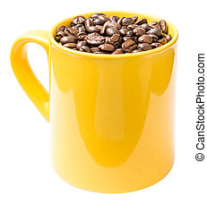 Yellow Coffee Cup With Coffee Beans Isolated On White...