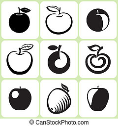 Apple Fruit Icons Set - Apple Fruit Vector Icons Set