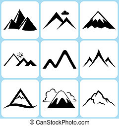 Mountain Icons Set - Mountain Vector Icons Set