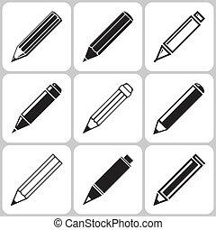 Pencil Icon Set - Vector Pencil Icon Set