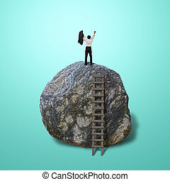 Cheered businessman climb on top of large rock, in green...