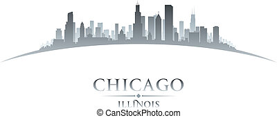 Chicago Illinois city skyline silhouette white background -...