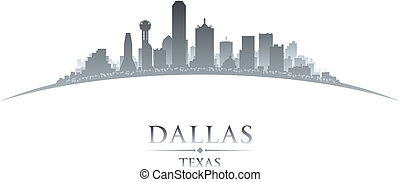 Dallas Texas city skyline silhouette white background -...