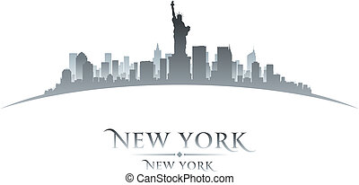 New York city skyline silhouette white background