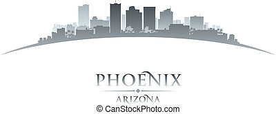 Phoenix Arizona city skyline silhouette white background -...