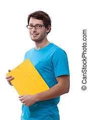 Student holding a folder - Student wearing the glasses...