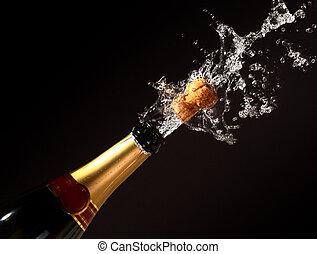 champanhe, garrafa, erupção