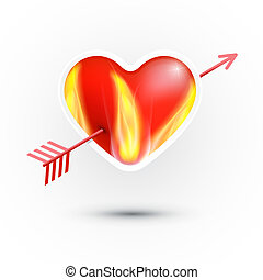 Vector Red Heart With Fire