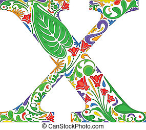 Floral X - Colorful floral initial capital letter X