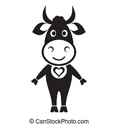 Cute cow - Cute black cow icon with heart on white