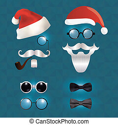 Santa Klaus fashion set hipster style, illustration icons