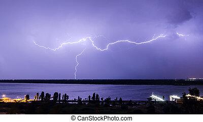 Lightning over the river 3 - Lightning over the river Volga...