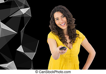 Composite image of smiling curly haired pretty woman...