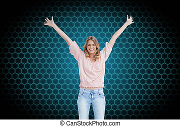 Composite image of a full length shot of a smiling woman who...