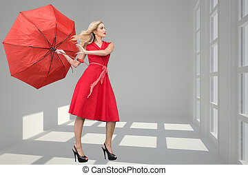 Composite image of beautiful woman posing with a broken...