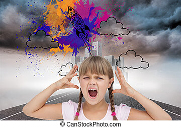Composite image of crazy little girl - Composite image of...