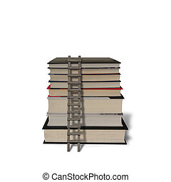 Stack of books with wooden ladder isolated in white...