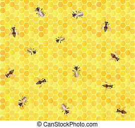 Many bees on honeycomb, seamless. - Seamless vector...