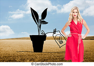 Composite image of elegant blonde standing hands on hips in...