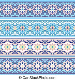 vector seamless Traditional Muslim floral ornament - set of...