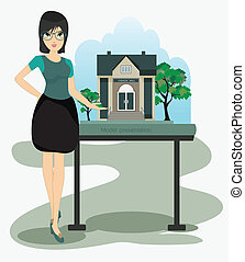 Architect woman in presentation design