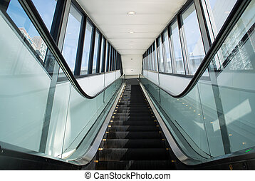 Escalator stairway inside modern exhibition Center