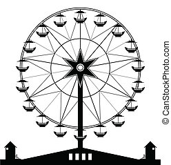Ferris wheel with a black and white background.