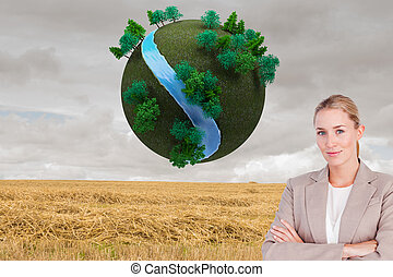 Composite image of confident female executive with folded...