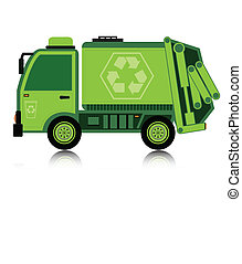 Car garbage - Garbage truck with a white background