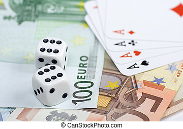 Euro gambling - Pair of dices and playing cards over euro...