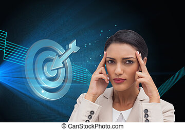 Composite image of young businesswoman putting her fingers...