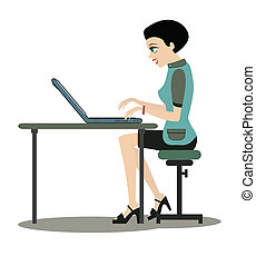 Working women. - Woman working at computer desk with a white...