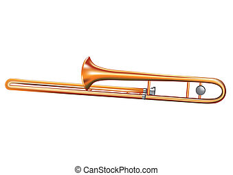trombone isolated on white background. 10 EPS