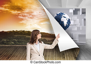 Composite image of brunette businesswoman pulling -...