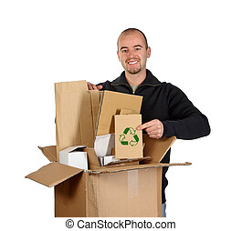 young man recycling cardboard - Isolated man on white show...