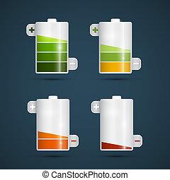 Vector Battery Life Symbols Set