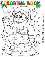 Coloring book Santa Claus topic 9 - eps10 vector...