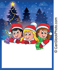 Small frame with Christmas children - eps10 vector...